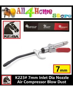 "K223 9"" KEIBA 7mm Inlet Dia Nozzle Air Compressor Blow Dust Cleaning Tool for Auto Car"