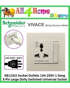 Schneider Clipsal C-Vivace KB113LS Socket Outlets 13A 250V 1 Gang 3-Pin Large Dolly Switched Universal Socket