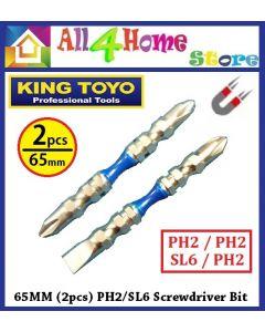KING TOYO 65MM (2pcs) Screwdriver Bit PH2/SL6 Screwdriver Bit (+/+ , +/-) KT-FL6017