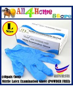 MAXCARE Nitrile Latex Examination Glove (POWDER FREE) (L size)(40pairs/box)