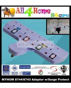 MYHOM 8744 4 Gang Adaptor w/Surge Protector