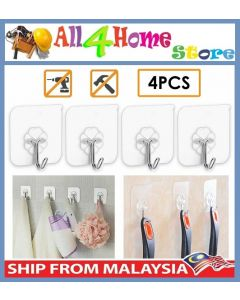 [Ready Stock] 4pcs Sticky Hook Transparent Magic Hook Strong Adhesive Wall Hook for Kitchen Bathroom Bedroom