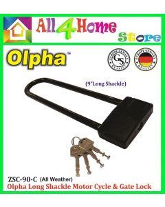 OLPHA ZSC90C Long Shackle Heavy Duty Motorcycle & Gate Lock Padlock
