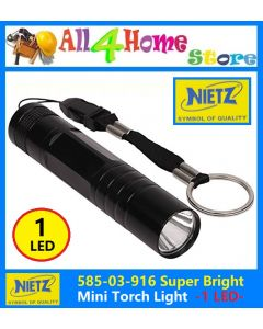 NIETZ Mini Pocket LED Flashlight/Torch (Black)