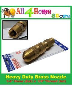 "Heavy Duty Brass Hose Nozzle 1/2"" (Int Thread) x 3/4""(Ext Hose)"