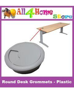 5pcs (Grey) Round Desk Grommets - Plastic