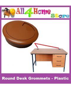 5pcs (Brown) Round Desk Grommets - Plastic