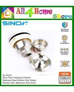 SINOR SD-438-63 Stainless Heavy Duty Kitchen Sink Waste Drain c/w Cover
