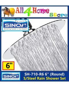 "6"" SINOR Stainless Steel Rain Shower Set"