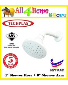 "TECHPLAS 4"" PVC Shower Rose + 8"" PVC Shower Arm"