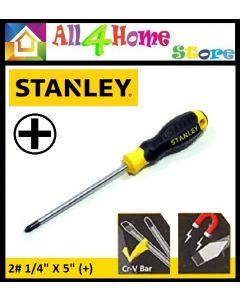 "STANLEY STMT60810-8 CUSHION GRIP SCREW DRIVER 2# 1/4 X 5"" (+)"