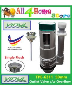 TPE-6311 VINYL 50mm Single Push Button Outlet Valve c/w Internal Overflow
