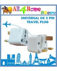 Universal UK 3 Pin Travel Plug/Socket/Adapter