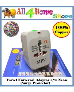 100% Copper Universal Travel Plug Power Adapter c/w Neon (Surge Protector)