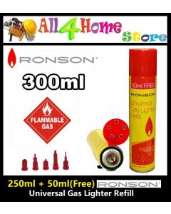 RONSON Universal Gas Lighter Refill extra 50ml FREE (Suitable for all gas lighters)