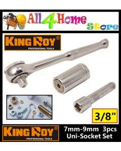 KINGROY 3 Pieces Hand Tool Set Universal Socket Wrench (SILVER) (7 - 19mm)