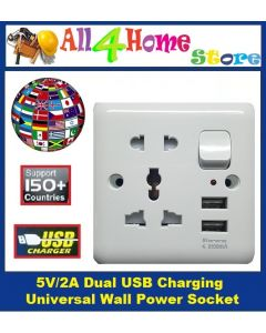 Multi Socket Adapter + 2 universal Charging USB port switch socket