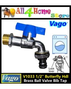 "V1103 1/2"" VAGO 100% Brass Ball Valve Bib Tap"