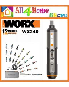 WORX WX240 4V Cordless Screwdriver Pen Kit  c/w 26 pcs Accessories Kit + USB Cable + Plastic Case WX 240