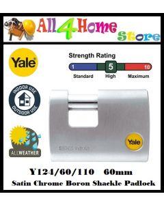 YALE Y124-60-110-1 60mm Satin Chrome Boron Shackle Padlock
