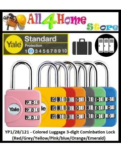 YP1/28/121 - Yale Colored Luggage 3-digit Cominbation Lock (Red/Grey/Yellow/Pink/blue/Orange/Emerald) 30mm