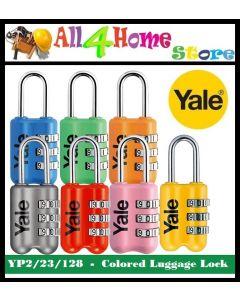 YP2/23/128 - Yale Colored Luggage 3-digit Cominbation Lock (Red/Grey/Yellow/Pink/blue/Orange/Emerald) 23mm
